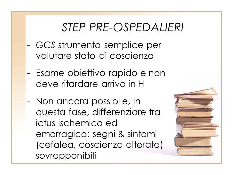 STEP PRE-OSPEDALIERI GCS strumento semplice per valutare stato di coscienza. Esame obiettivo rapido e non deve ritardare arrivo in H.