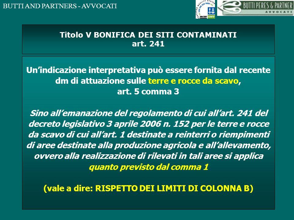 Titolo V BONIFICA DEI SITI CONTAMINATI art. 241