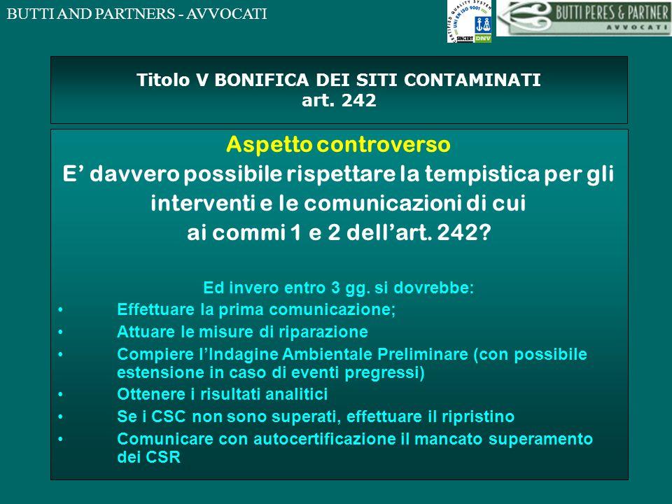 Titolo V BONIFICA DEI SITI CONTAMINATI art. 242