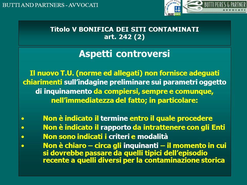 Titolo V BONIFICA DEI SITI CONTAMINATI art. 242 (2)