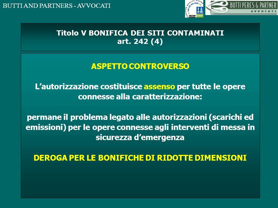 Titolo V BONIFICA DEI SITI CONTAMINATI art. 242 (4)