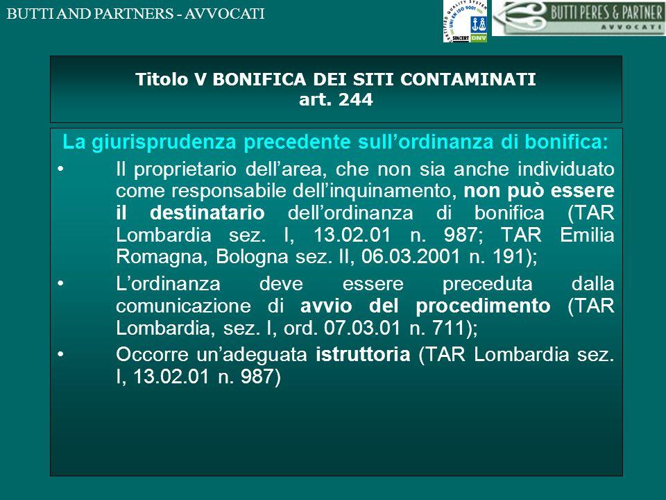 Titolo V BONIFICA DEI SITI CONTAMINATI art. 244