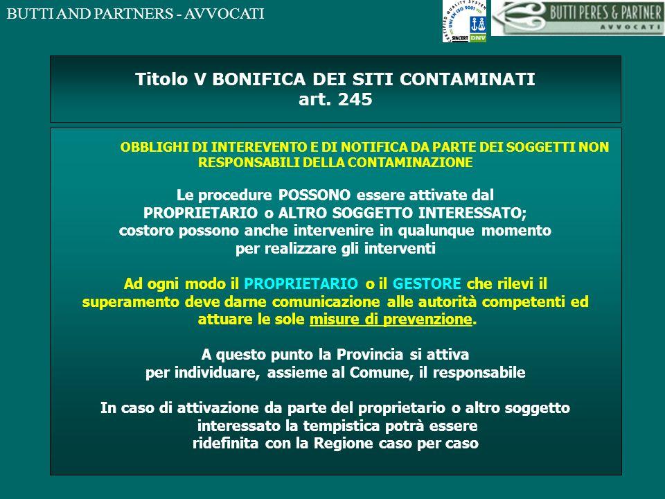Titolo V BONIFICA DEI SITI CONTAMINATI art. 245