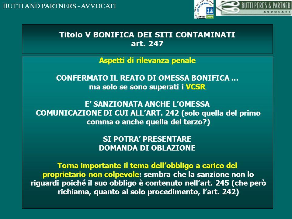 Titolo V BONIFICA DEI SITI CONTAMINATI art. 247