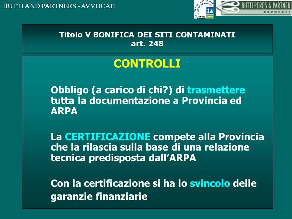 Titolo V BONIFICA DEI SITI CONTAMINATI art. 248