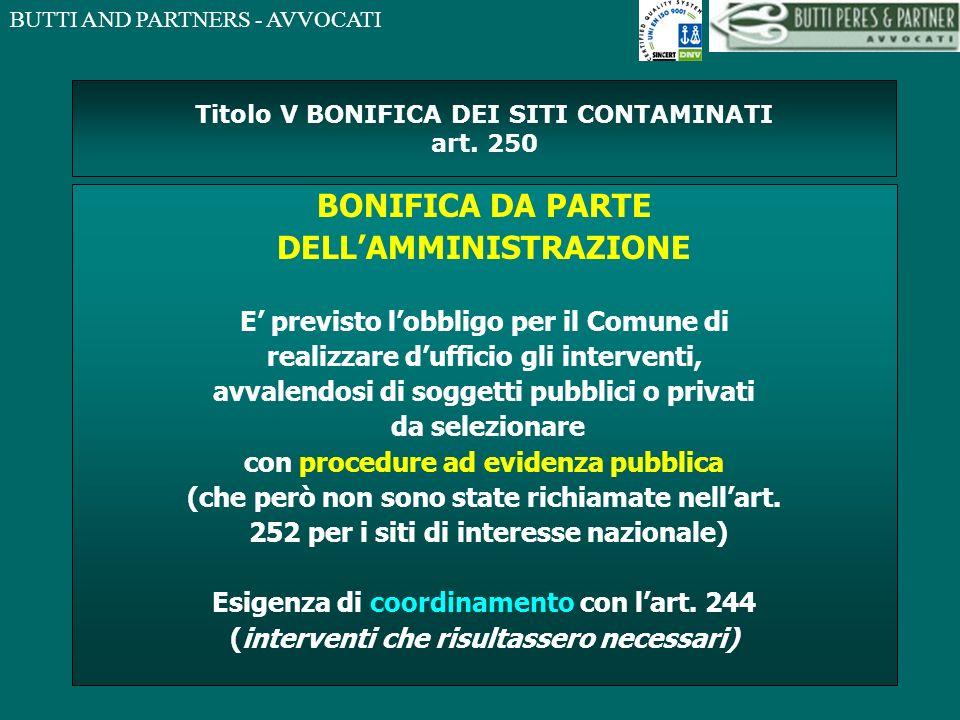 Titolo V BONIFICA DEI SITI CONTAMINATI art. 250