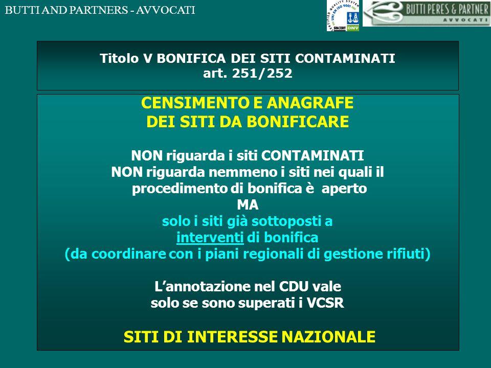 Titolo V BONIFICA DEI SITI CONTAMINATI art. 251/252