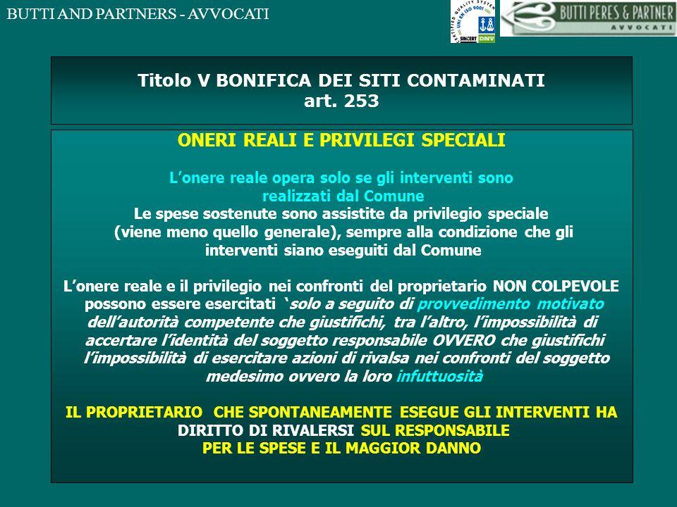 Titolo V BONIFICA DEI SITI CONTAMINATI art. 253