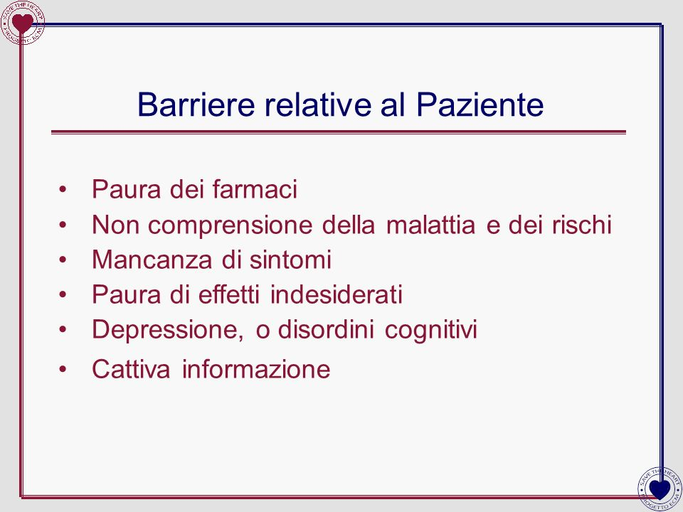 Barriere relative al Paziente