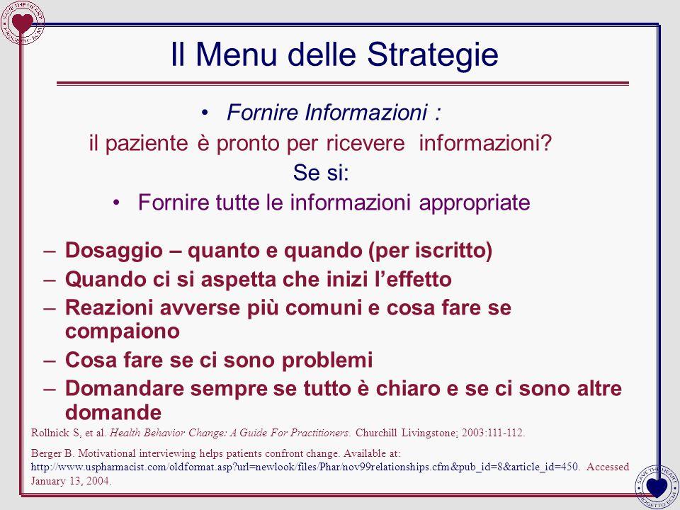 Il Menu delle Strategie