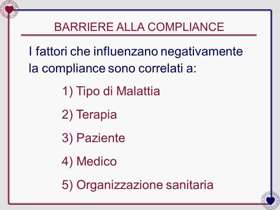 BARRIERE ALLA COMPLIANCE