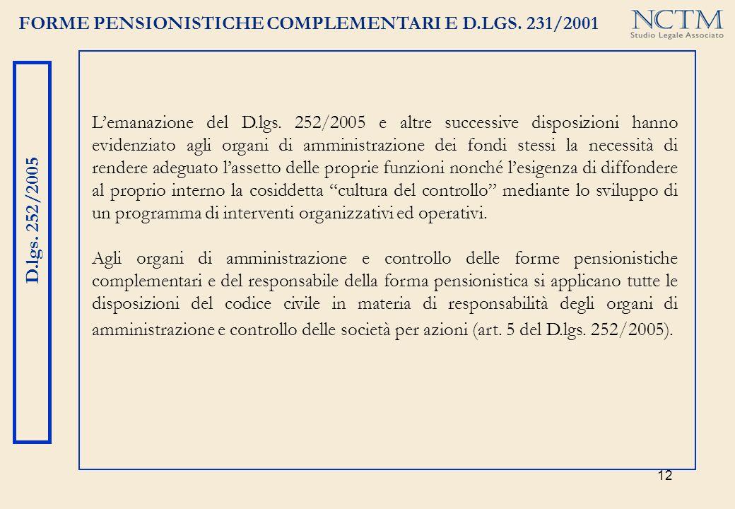 FORME PENSIONISTICHE COMPLEMENTARI E D.LGS. 231/2001