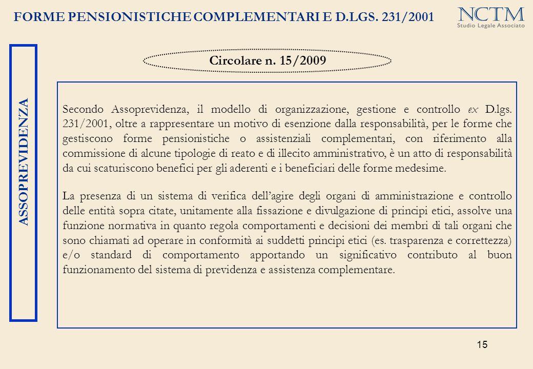 Circolare n. 15/2009 ASSOPREVIDENZA