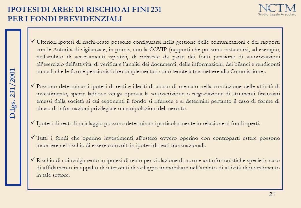 IPOTESI DI AREE DI RISCHIO AI FINI 231 PER I FONDI PREVIDENZIALI
