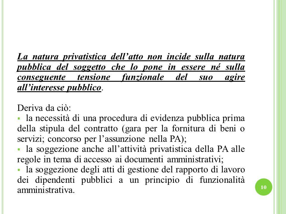 La natura privatistica dell'atto non incide sulla natura pubblica del soggetto che lo pone in essere né sulla conseguente tensione funzionale del suo agire all'interesse pubblico.