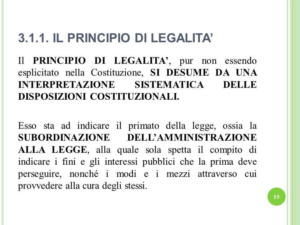 3.1.1. IL PRINCIPIO DI LEGALITA'