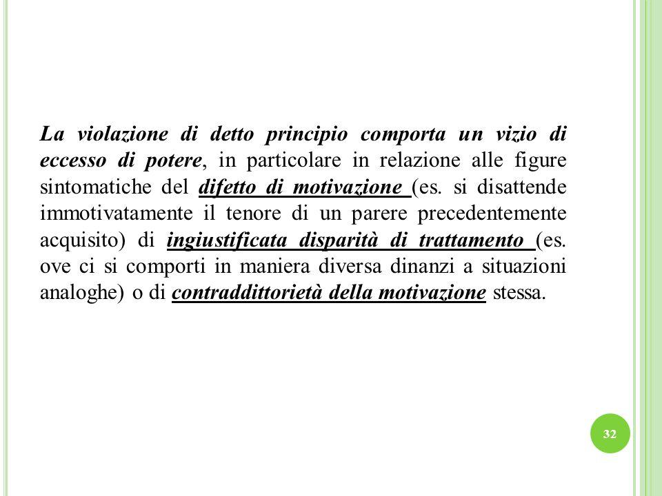 La violazione di detto principio comporta un vizio di eccesso di potere, in particolare in relazione alle figure sintomatiche del difetto di motivazione (es.