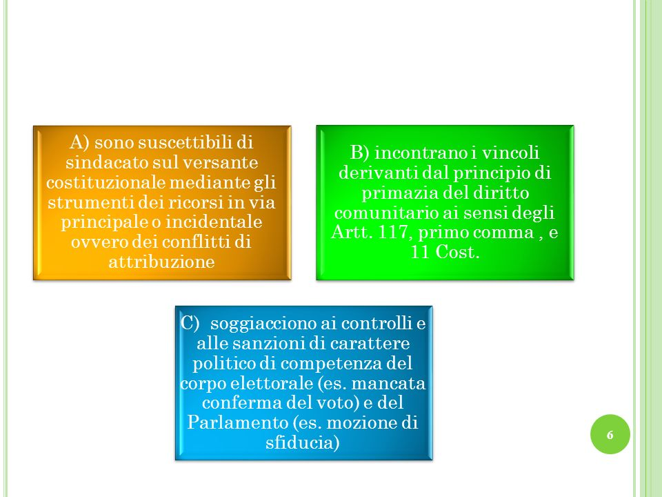 A) sono suscettibili di sindacato sul versante costituzionale mediante gli strumenti dei ricorsi in via principale o incidentale ovvero dei conflitti di attribuzione
