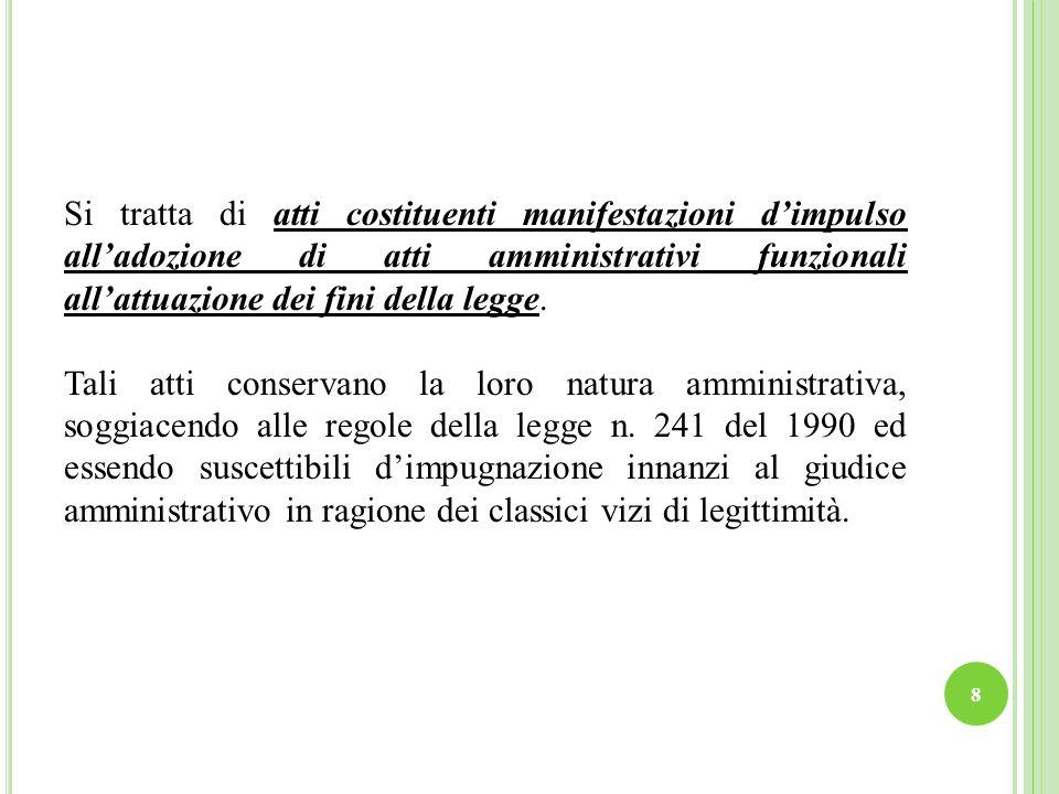 Si tratta di atti costituenti manifestazioni d'impulso all'adozione di atti amministrativi funzionali all'attuazione dei fini della legge.