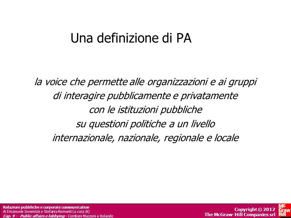 Una definizione di PA la voice che permette alle organizzazioni e ai gruppi. di interagire pubblicamente e privatamente.
