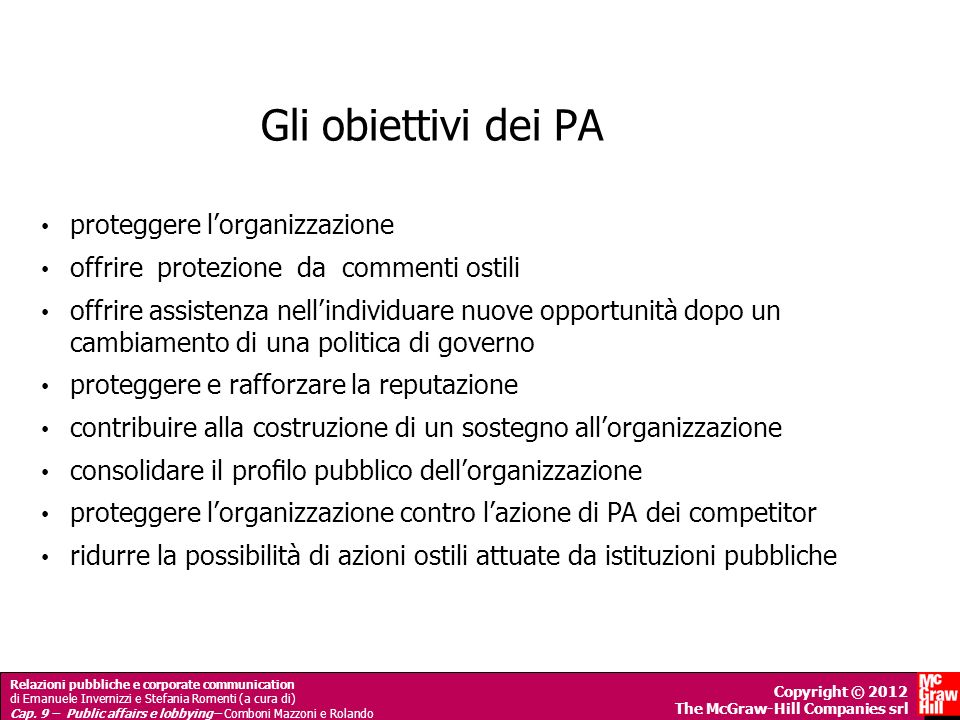 Gli obiettivi dei PA proteggere l'organizzazione