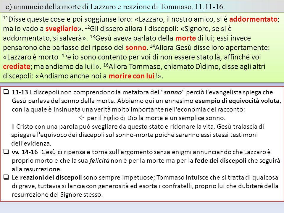 c) annuncio della morte di Lazzaro e reazione di Tommaso, 11,11-16.