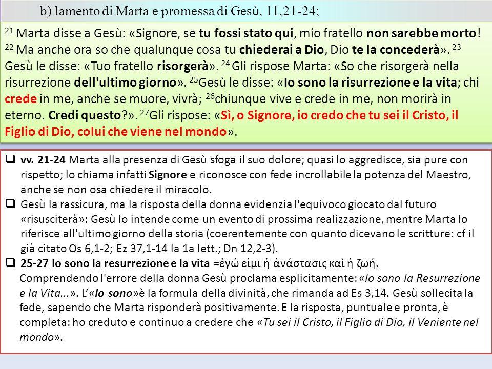 b) lamento di Marta e promessa di Gesù, 11,21-24;