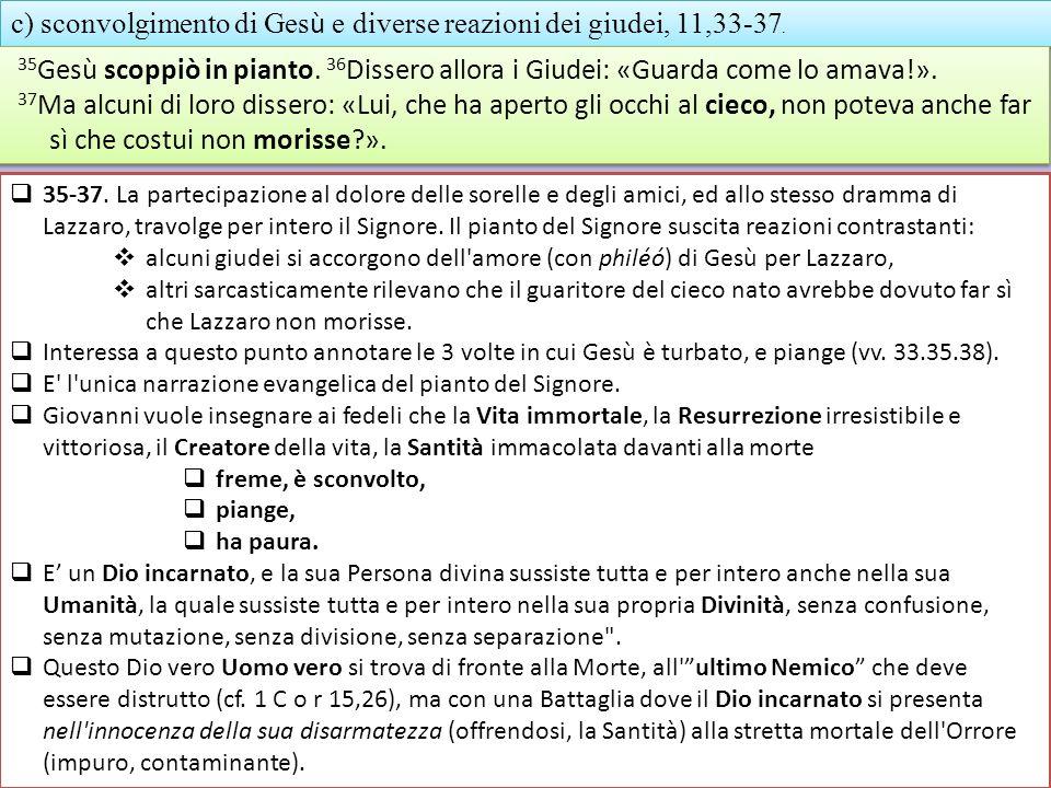 c) sconvolgimento di Gesù e diverse reazioni dei giudei, 11,33-37.