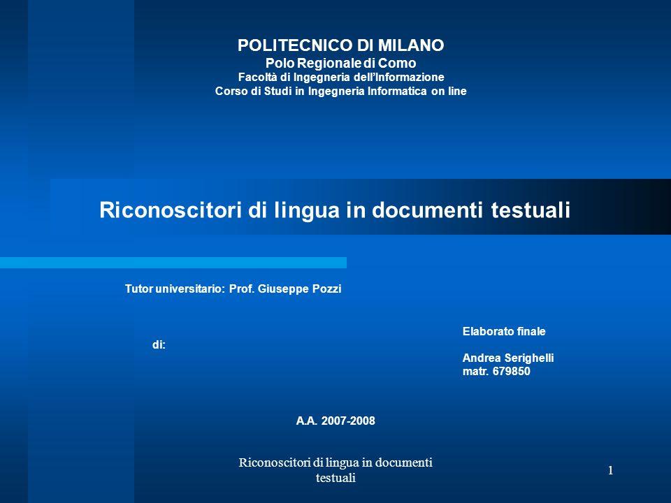 Riconoscitori di lingua in documenti testuali