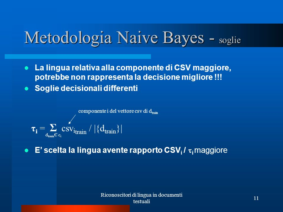 Metodologia Naive Bayes - soglie