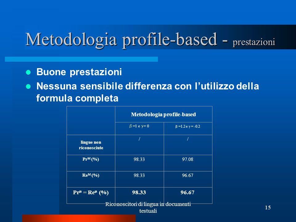 Metodologia profile-based - prestazioni