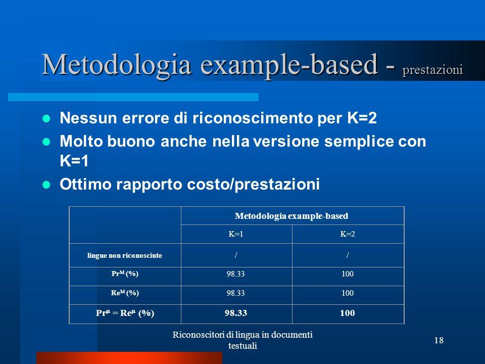 Metodologia example-based - prestazioni