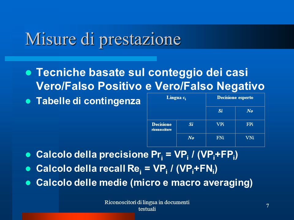 Misure di prestazione Tecniche basate sul conteggio dei casi Vero/Falso Positivo e Vero/Falso Negativo.