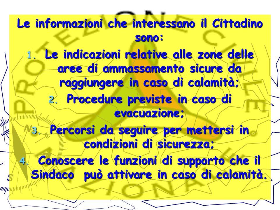 Le informazioni che interessano il Cittadino sono:
