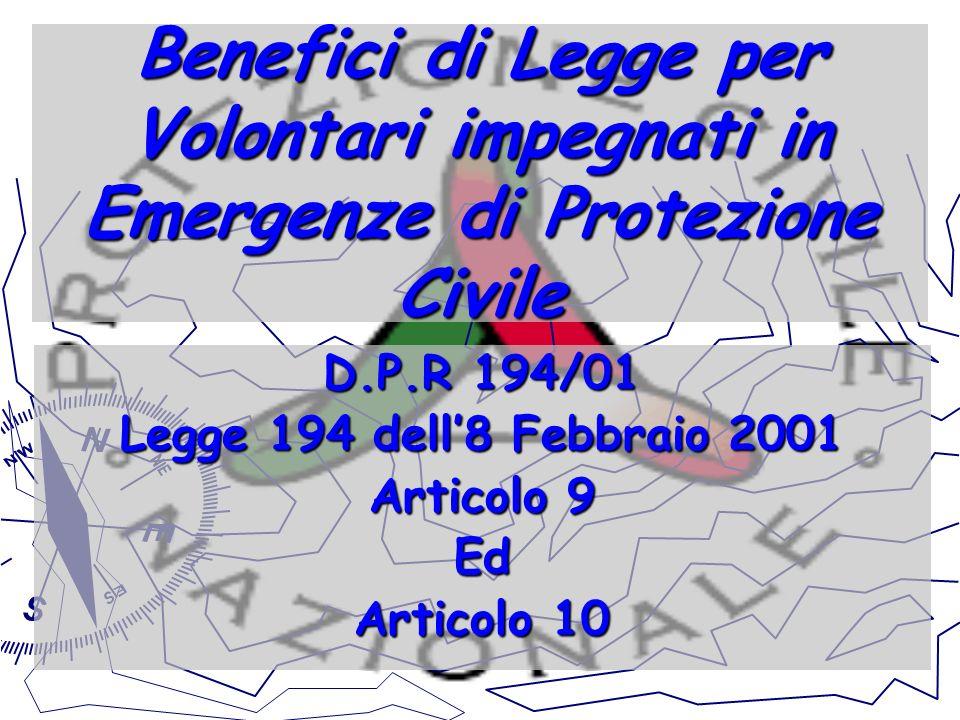 Benefici di Legge per Volontari impegnati in Emergenze di Protezione Civile