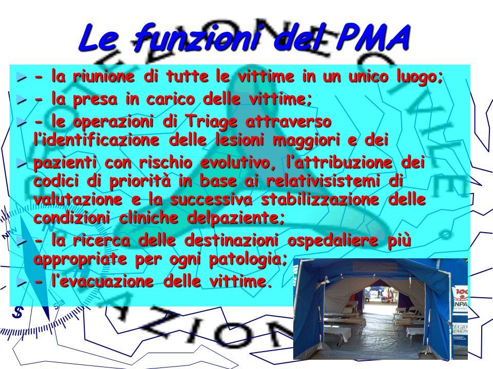 Le funzioni del PMA - la riunione di tutte le vittime in un unico luogo; - la presa in carico delle vittime;