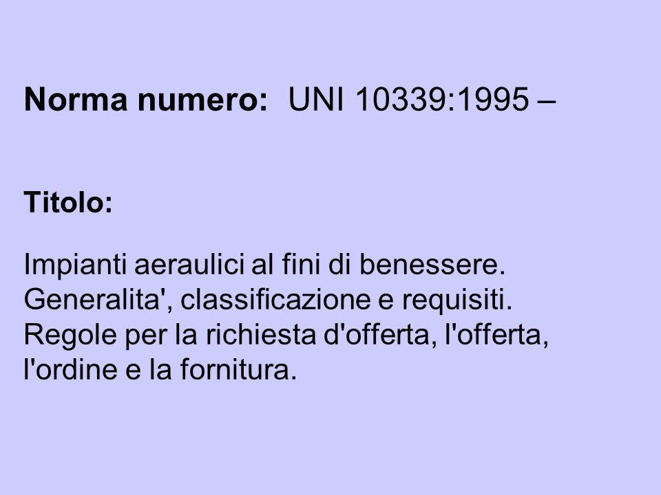 Norma numero: UNI 10339:1995 – Titolo: Impianti aeraulici al fini di benessere.