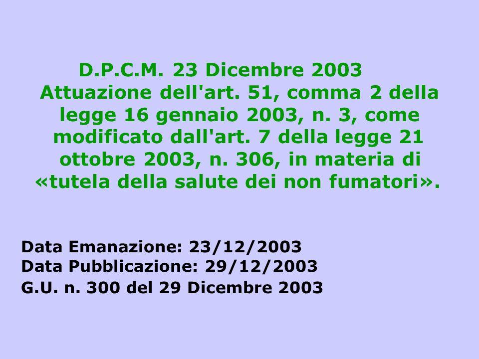 D. P. C. M. 23 Dicembre 2003 Attuazione dell art