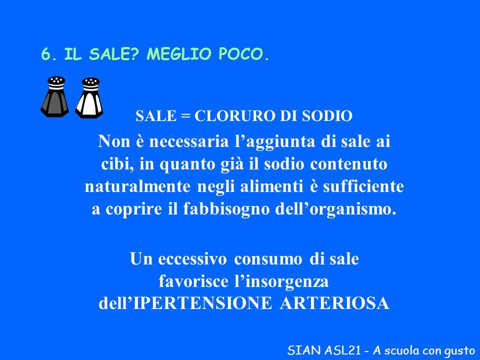 6. IL SALE MEGLIO POCO. SALE = CLORURO DI SODIO.