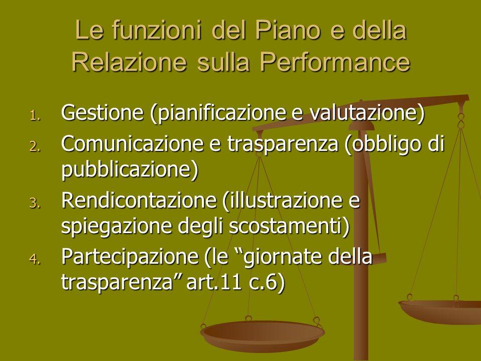 Le funzioni del Piano e della Relazione sulla Performance