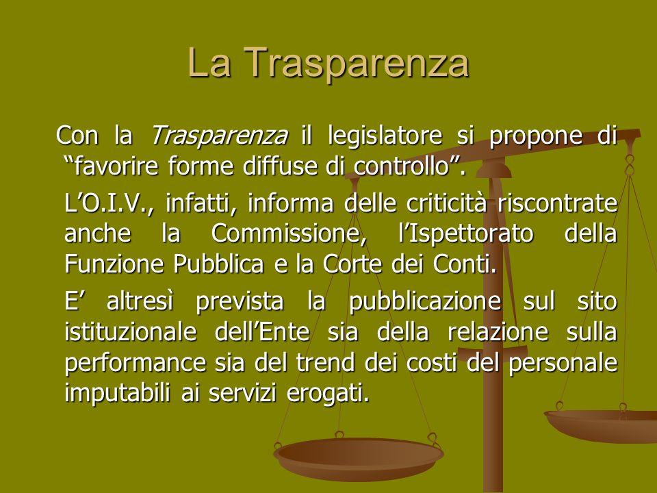 La Trasparenza Con la Trasparenza il legislatore si propone di favorire forme diffuse di controllo .