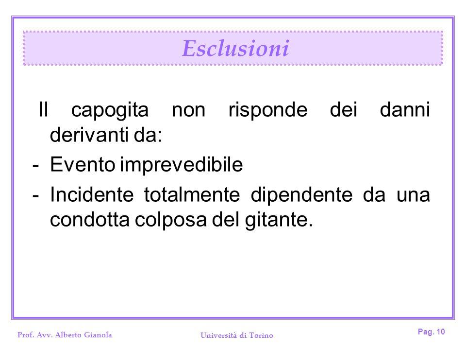 Esclusioni Il capogita non risponde dei danni derivanti da: