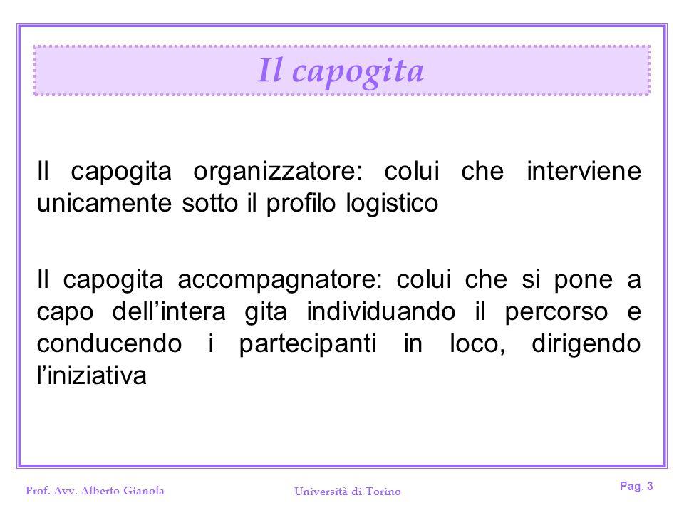 Il capogita Il capogita organizzatore: colui che interviene unicamente sotto il profilo logistico.