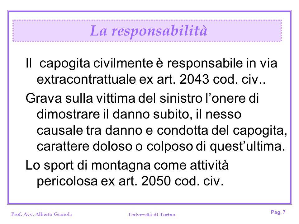 La responsabilità Il capogita civilmente è responsabile in via extracontrattuale ex art. 2043 cod. civ..