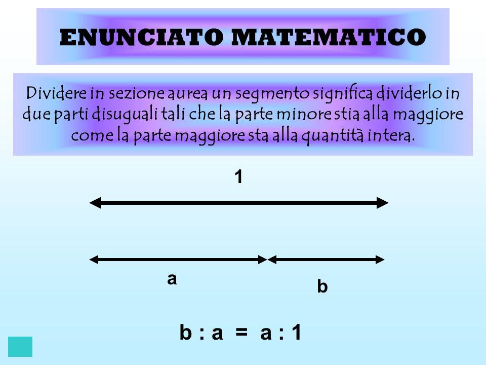 ENUNCIATO MATEMATICO b : a = a : 1 1 a b