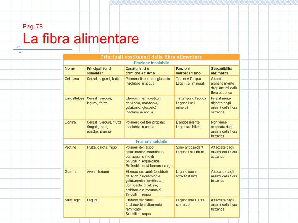 Pag. 78 La fibra alimentare
