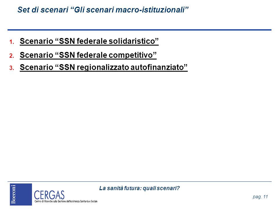 Set di scenari Gli scenari macro-istituzionali