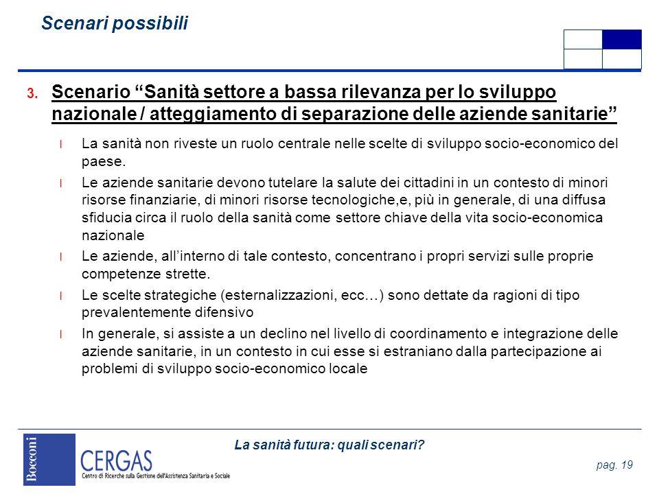 Scenari possibili Scenario Sanità settore a bassa rilevanza per lo sviluppo nazionale / atteggiamento di separazione delle aziende sanitarie