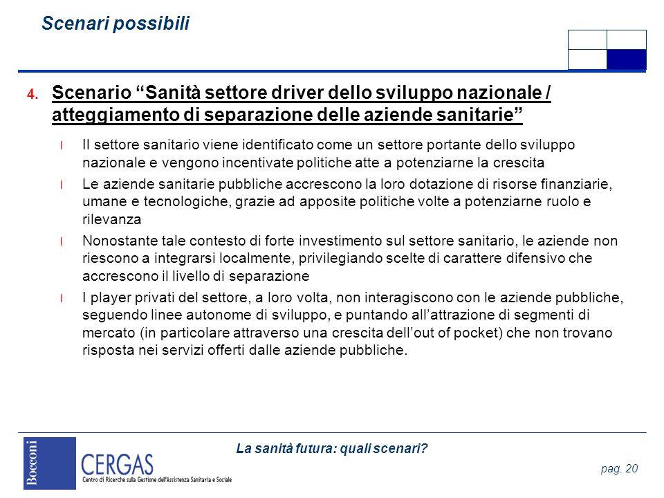 Scenari possibili Scenario Sanità settore driver dello sviluppo nazionale / atteggiamento di separazione delle aziende sanitarie