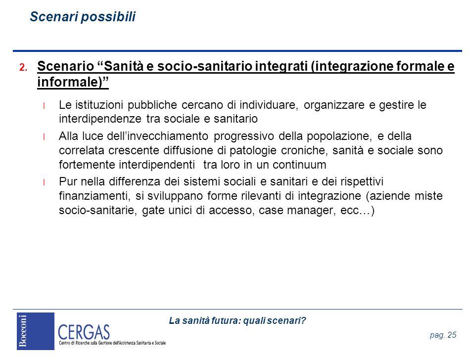 Scenari possibili Scenario Sanità e socio-sanitario integrati (integrazione formale e informale)